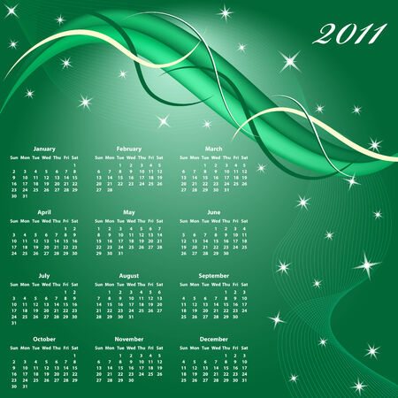 Calendar 2011 full year. January through to December months with a green abstract background. Vector