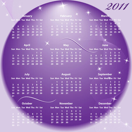 year january: Calendar 2011 full year. January through to December months with a purple abstract background.