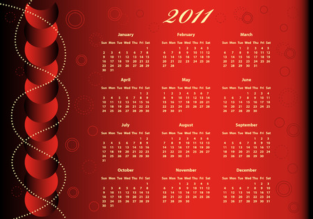 2011 Calendar full year on a red background decorated with balls and beads. Vector