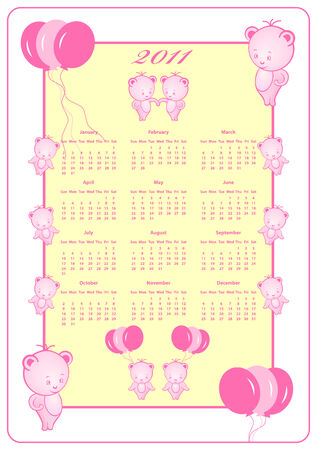 2011 Calendar decorated with pink balloons and teddy bears. Full year calendar. Vector