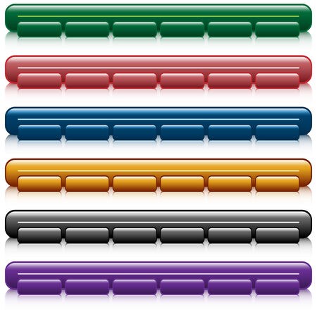 Web buttons, navigation bars with reflection, set of 6 in assorted colors. Isolated on white. Vector