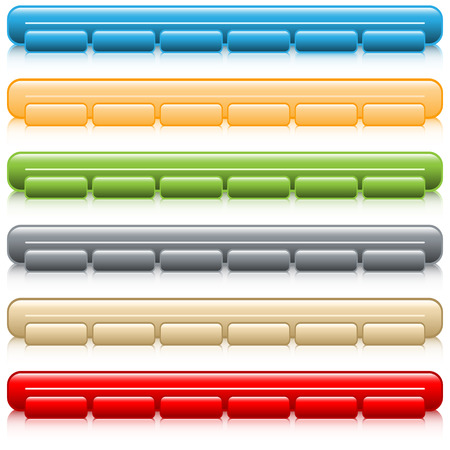 navigation bar: Web buttons navigation bars  with reflection, set of 6 in assorted colors. Isolated on white.