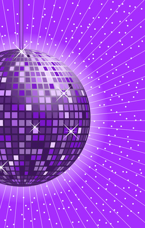Disco ball in shades of purple and lilac with rays in the background.