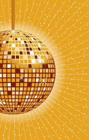 Disco ball in gold with rays and sparkles in the background. Vector