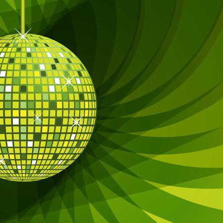 disco parties: Bola de disco en verde con destellos de conjunto sobre un fondo verde de abstracto elegante.  Vectores