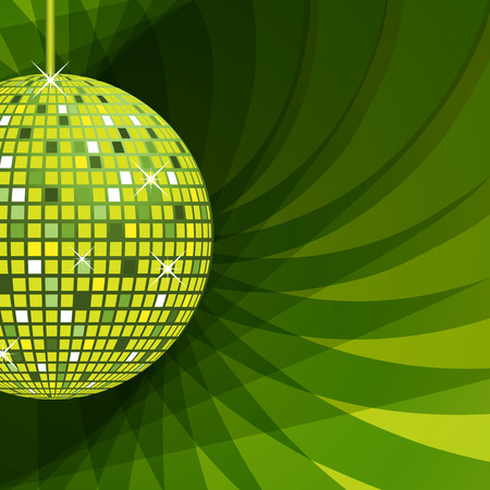 Disco ball in green with sparkles set on an elegant green abstract background.