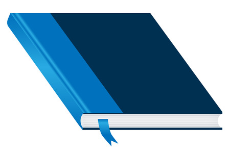 ample: Book. Blue and closed with a bookmark isolated on a white background. Ample space to add copy text on the cover.