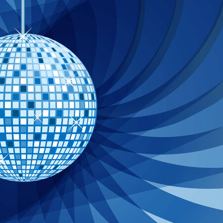 Disco ball in blue with sparkles set on an elegant blue abstract background. Vector