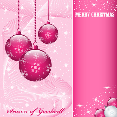 Christmas scene with hanging ornamental pink balls, snowflakes, stars and snow. Copy space for text. Vector
