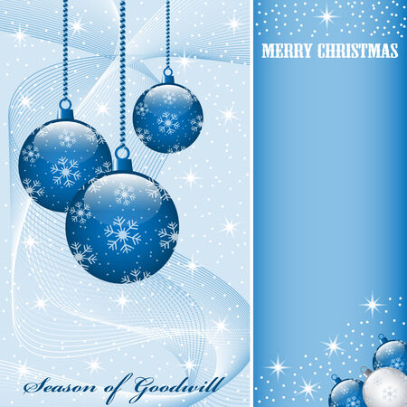 Christmas scene with hanging ornamental blue balls, snowflakes, stars and snow. Copy space for text. Stock Vector - 7608512