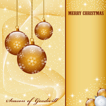Christmas scene with hanging ornamental gold balls, snowflakes, stars and snow. Copy space for text. Stock Vector - 7608514