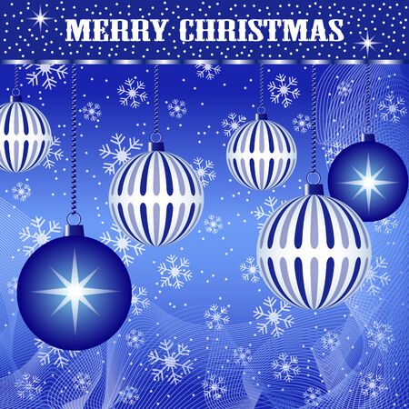 Christmas scene with hanging ornamental blue plain and striped xmas balls, snowflakes and snow. Stock Vector - 7669242
