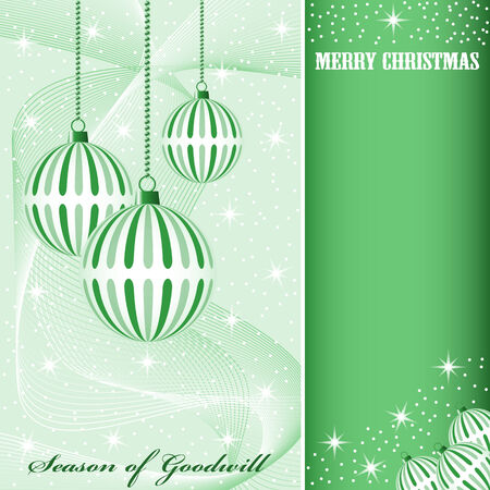 Christmas scene with hanging ornamental green striped xmas balls, snowflakes, stars and snow. Copy space for text. Stock Vector - 7669239