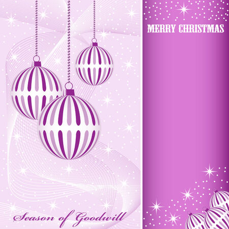 Christmas scene with hanging ornamental purple striped xmas balls, snowflakes, stars and snow. Copy space for text. Stock Vector - 7669243