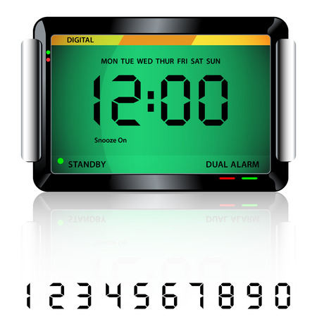 midnight hour: Digital alarm clock isolated on white with reflection and spare digital numbers.