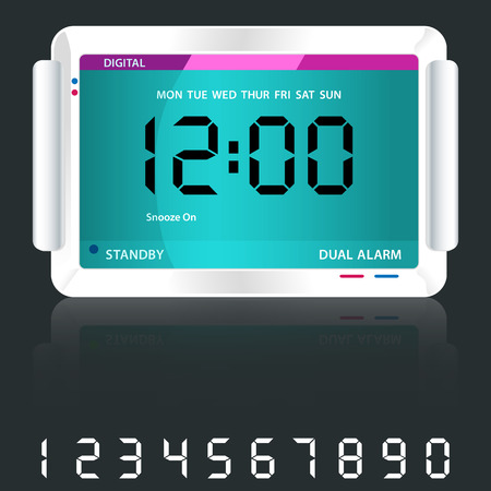 Digital alarm clock isolated on dark grey with reflection and spare digital numbers. Vector