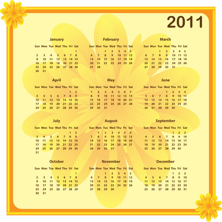 year january: Calendar 2011 full year. January through to December months with a subtle flower background and borders.