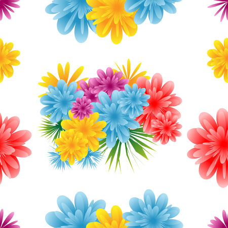 Seamless flower pattern on a white background. Illustration