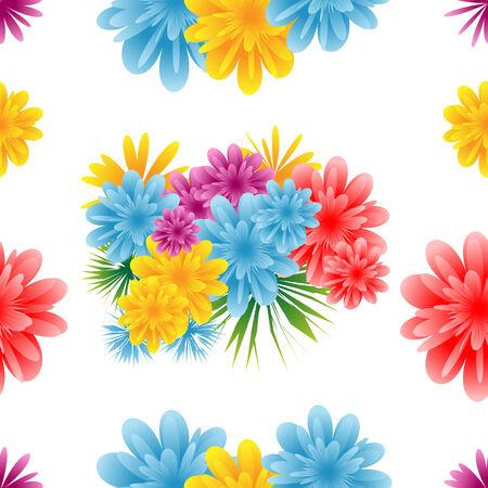 tiling: Seamless flower pattern on a white background. Illustration