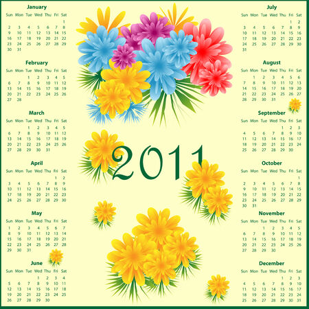Calendar 2011 full year decorated with colorful flowers. Vector