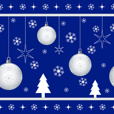 Christmas seamless pattern with xmas balls, stars, snowflakes and xmas trees on blue background Vector