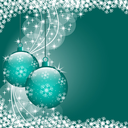 Christmas scene with hanging ornamental blue xmas balls, snowflakes and stars. Copy space for text. Stock Vector - 7757797