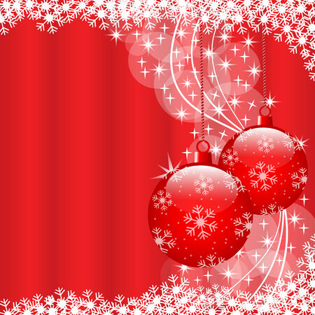 Christmas scene with hanging ornamental red xmas balls, snowflakes and stars. Copy space for text. Vector
