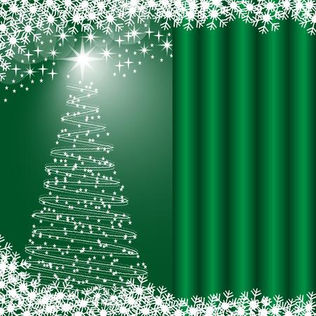 Árboles de Navidad, copos de nieve y estrellas, fondo brillante verde. Copiar el espacio para texto en efecto de cortina.