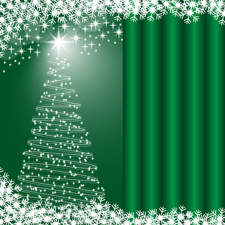 Christmas tree, snowflakes and stars, green glowing background. Copy space for text on curtain effect. Stock Vector - 7757796