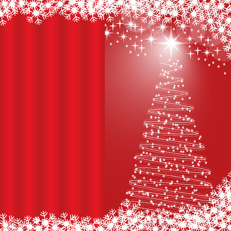 copy: Christmas tree, snowflakes and stars, red glowing background. Copy space for text on curtain effect.