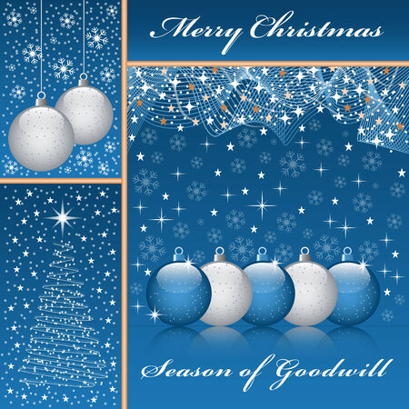 Christmas balls, xmas tree, snowflakes and stars set on a blue background. Stock Vector - 7864407