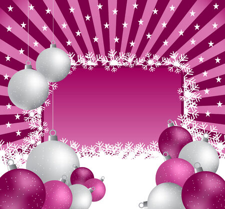 Xmas balls in silver and pink on a sunburst background. Copy space for text. Vector