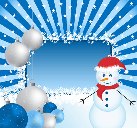 Snowman and xmas balls in silver and blue on a sunburst background. Copy space for text. Stock Vector - 7864408