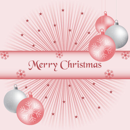 Xmas balls, pink and silver, sunburst background, snowflakes and stars. Vector
