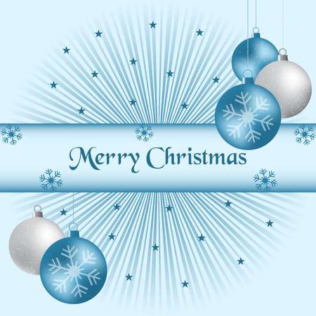 Xmas balls, blue and silver, sunburst background, snowflakes and stars. Vector