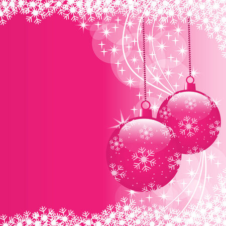 Christmas scene with hanging ornamental pink xmas balls, snowflakes and stars. Copy space for text. Stock Vector - 7864413
