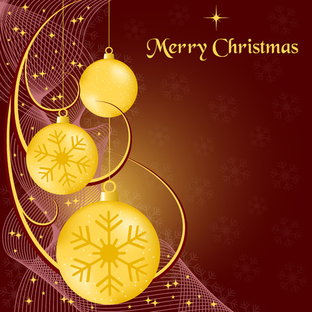 Xmas balls gold, wispy lines, stars and snowflakes on burgundy background. Copy space for text. Stock Vector - 7962107