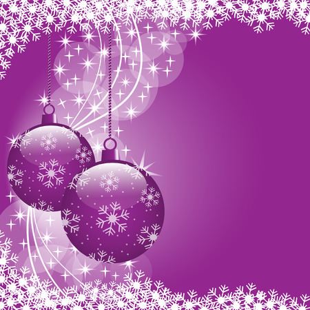 Christmas scene with hanging ornamental purple xmas balls, snowflakes and stars. Copy space for text. Vector