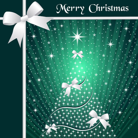 Christmas tree with silver ribbons or bows, sunburst, snow and stars on a green background. Stock Vector - 8029784