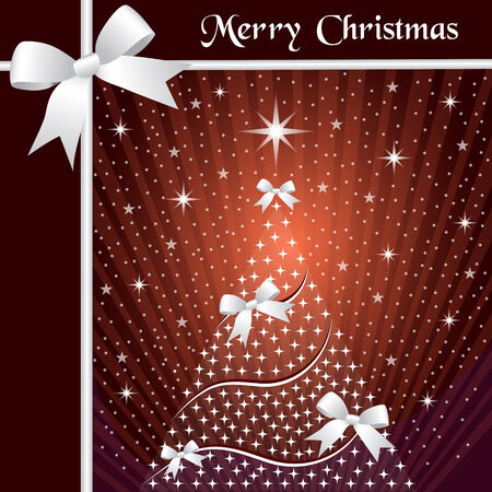 burgundy ribbon: Christmas tree with silver ribbons or bows, sunburst, snow and stars on a brown and orange background.