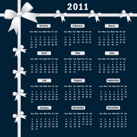 Calendar 2011 year with white bows on a dark background. Vector
