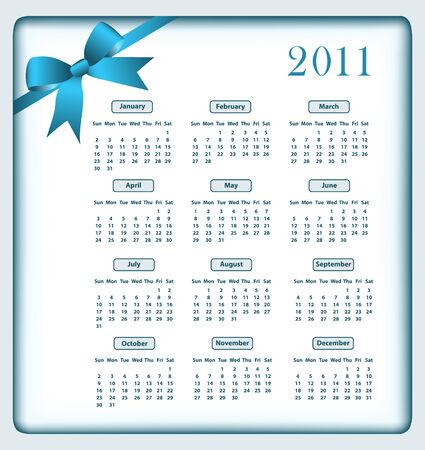 Calendar 2011 year with a blue bow. Vector