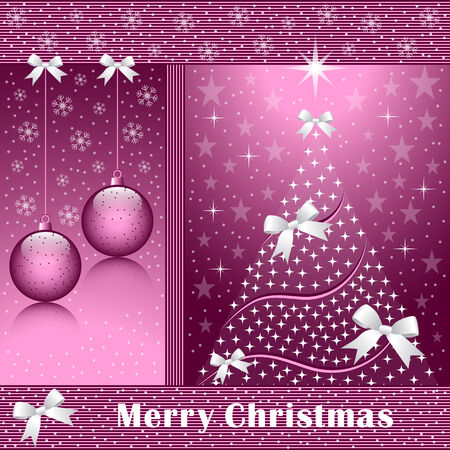 Christmas tree, balls, bows, stars, snowflakes and snow on a rose colored background.