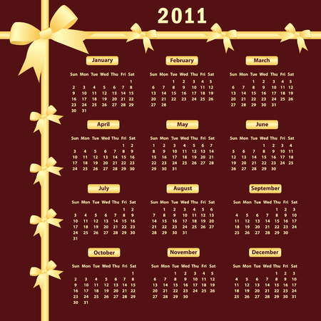 Calendar 2011 year with gold bows on a dark burgundy background. Vector
