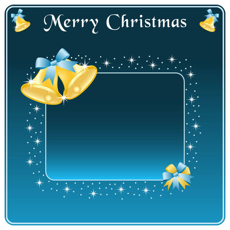 Christmas bells in gold, blue blow and stars. Copy space for text. Stock Vector - 8093917