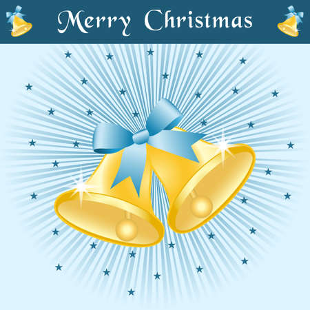 Christmas bells in gold with bows on a blue sunburst background decorated with stars. Stock Vector - 8093918
