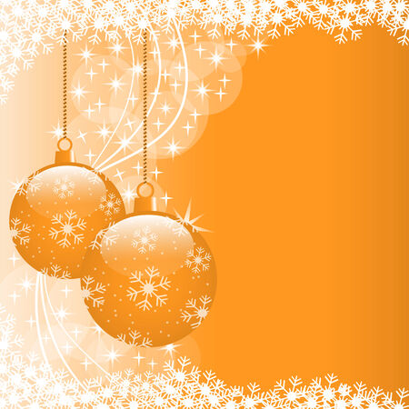 Christmas scene with hanging ornamental orange xmas balls, snowflakes and stars. Copy space for text. Stock Vector - 8093919