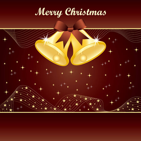 burgundy ribbon: Gold christmas bells with pretty bow and yellow stars on dark brown background. Copy space for text.