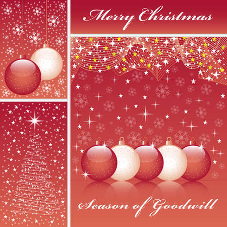 Christmas balls, xmas tree, snowflakes and stars set on a red background. Stock Vector - 8093920