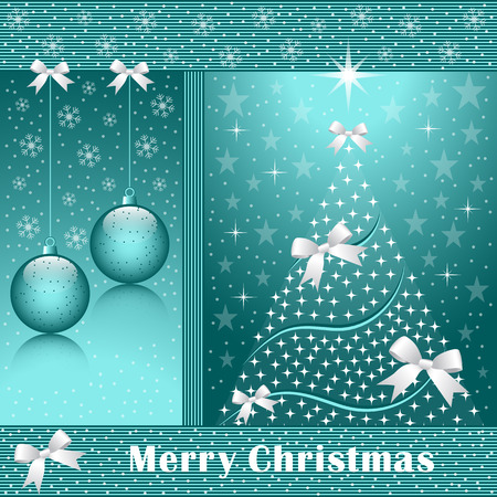 wintry: Christmas tree, balls, bows, stars, snowflakes and snow on a blue background.